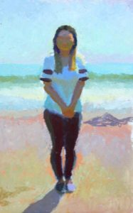 painting of a woman on the beach
