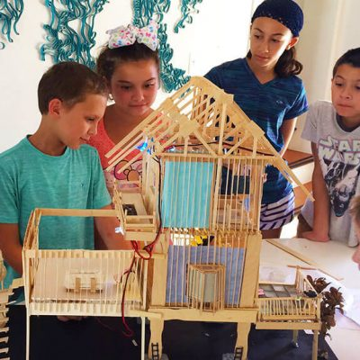 AFSB Summer Camp kids having fun building architectural model